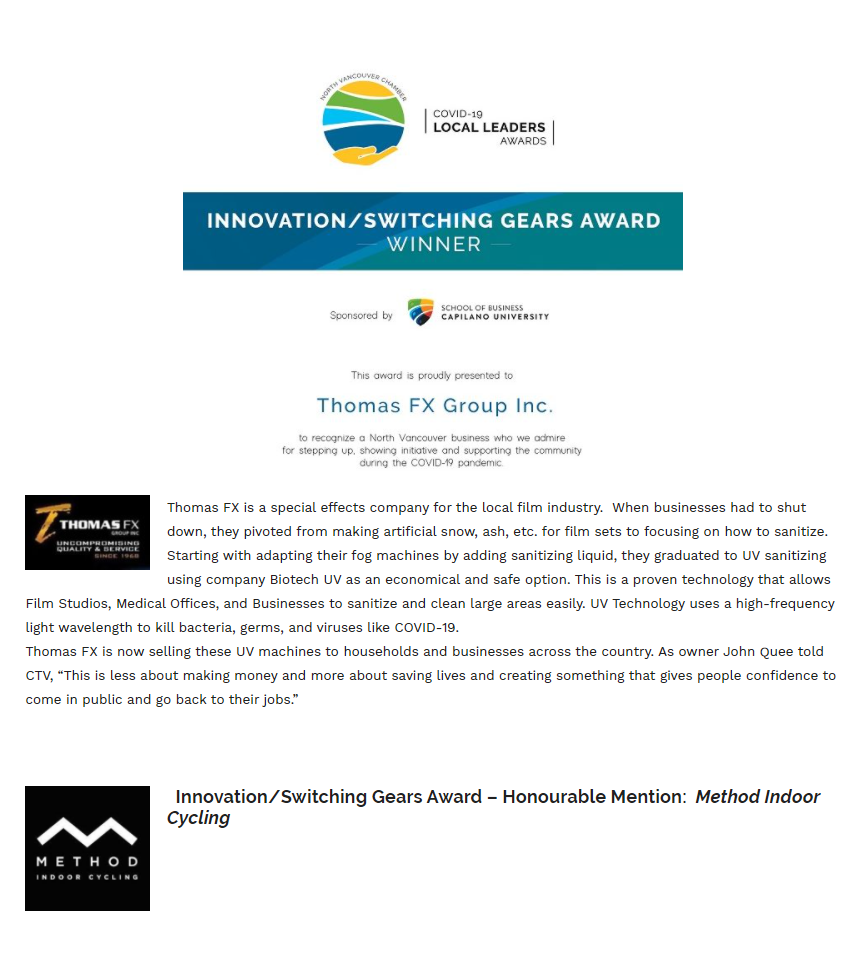 Thomas FX Awarded Innovation/Switching Gears Award by North Vancouver Chamber