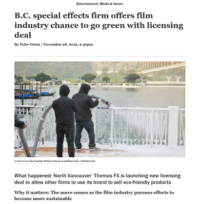 B.C. special effects firm offers film industry chance to go green with licensing deal