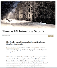 Dec 2019 American Cinematographer Article about Thomas FX innovative Sno-FX