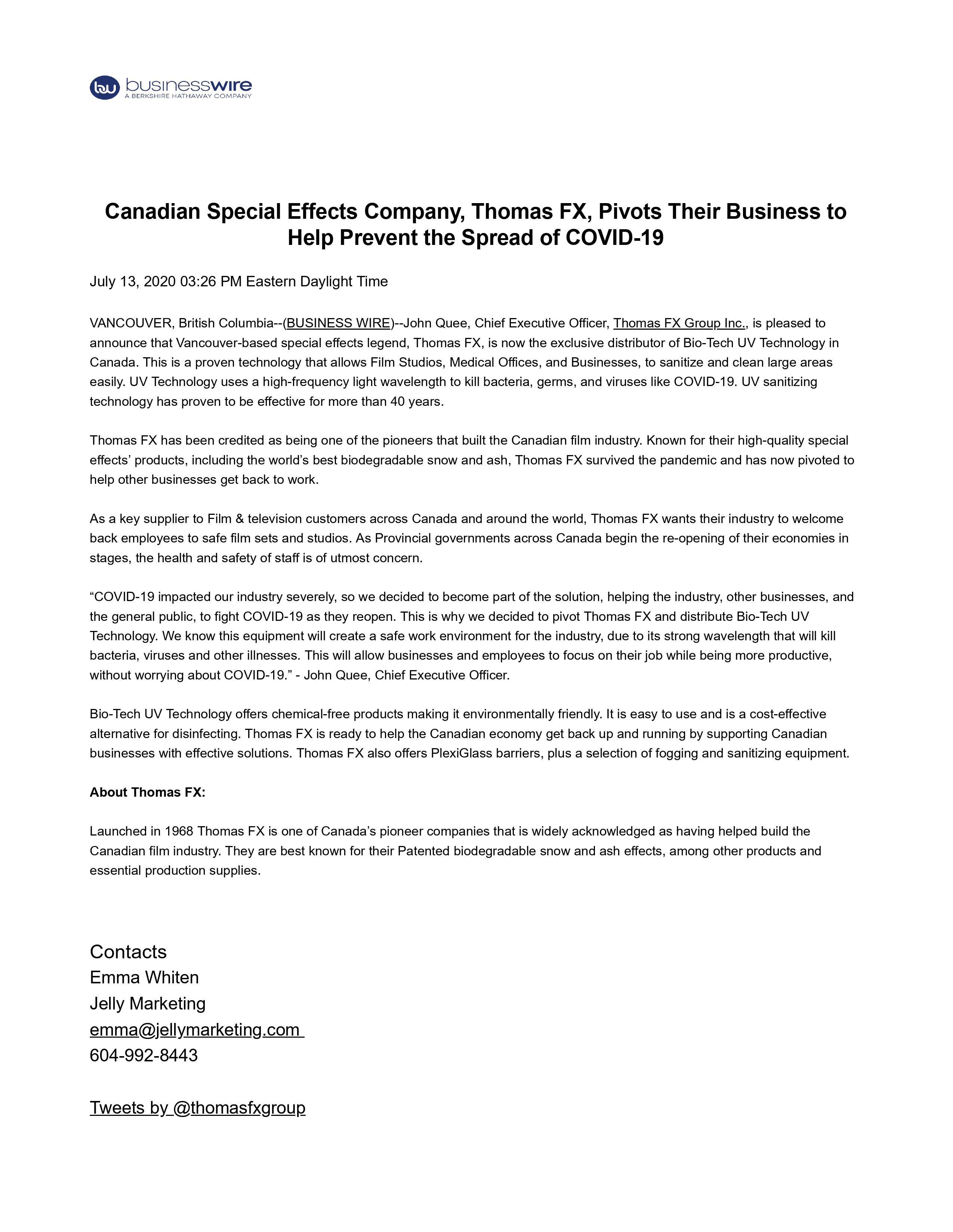 July 13 2020 Canadian Special Effects Company, Thomas FX, Pivots Their Business to Help Prevent the Spread of COVID-19