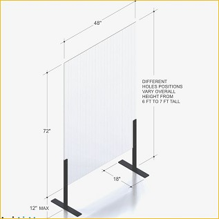 FLOOR STANDING 48 PLEXI SHIELD